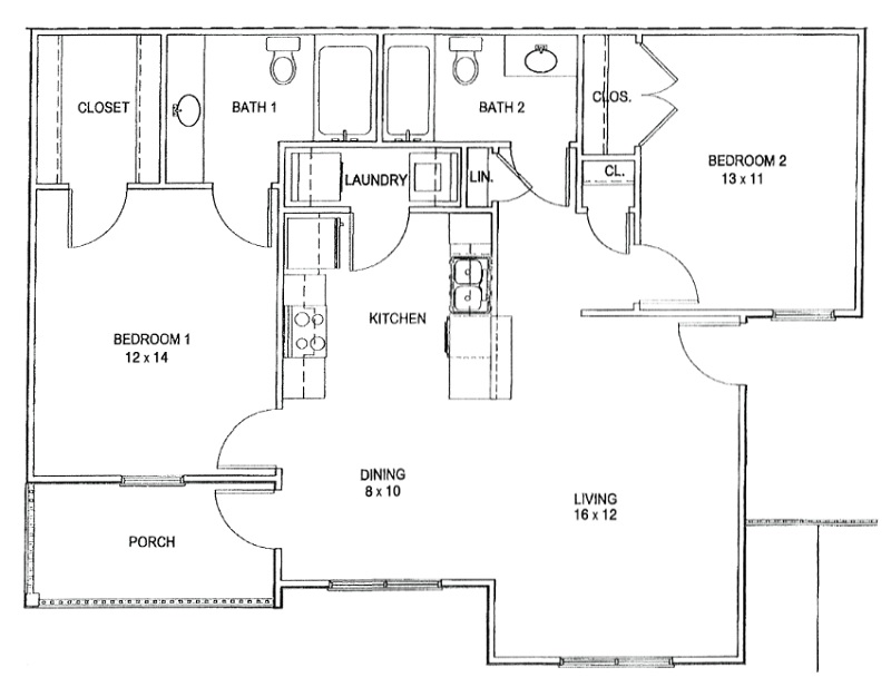 Floorplan - 2 Bed and 2 Bath image