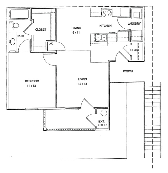 Cypress Bend Village - Floorplan - 1 Bed and 1 Bath