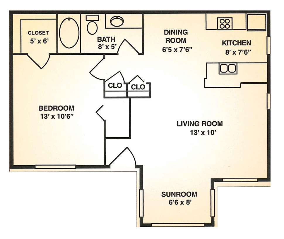 Cypress Trail Apartments - Floorplan - 1BR