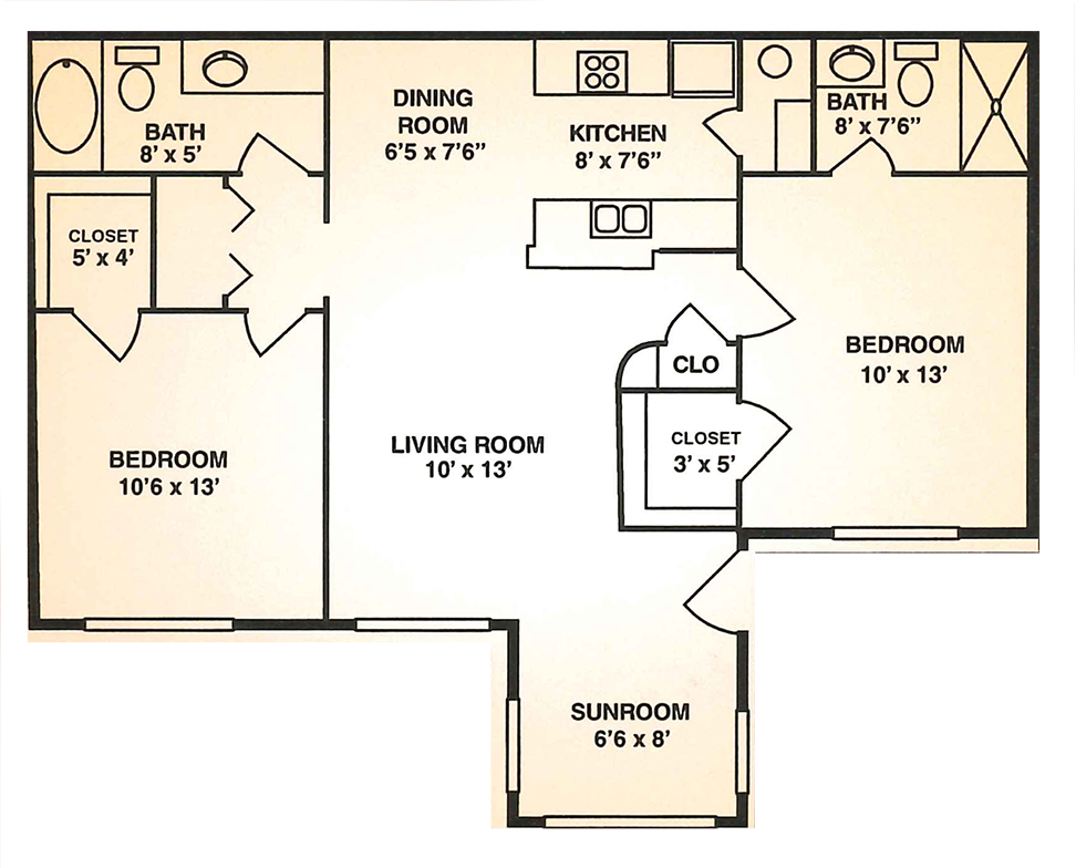 Cypress Trail Apartments - Floorplan - 2BR