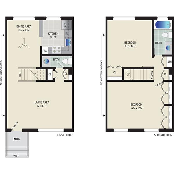 Deerfield Run & Village Square North Apartments - Floorplan - 2 BR + 1.5 BA Townhome