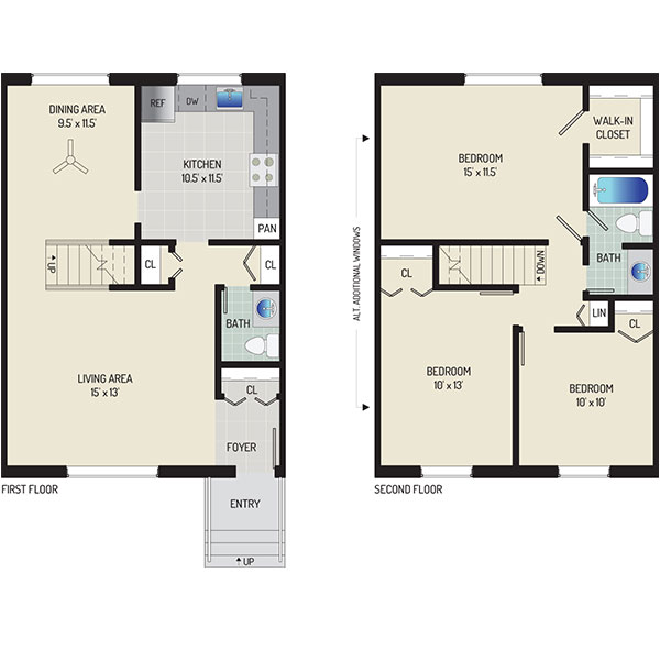Deerfield Run & Village Square North Apartments - Floorplan - 3 BR + 1.5 BA Townhome