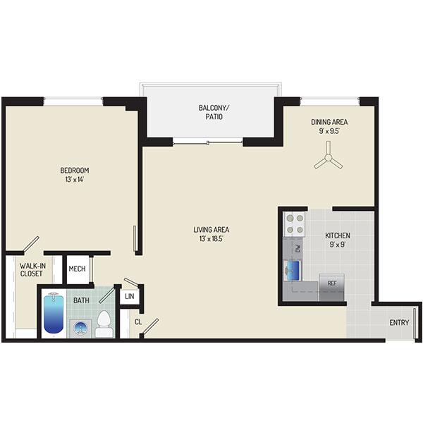 Deerfield Run & Village Square North Apartments - Floorplan - 1 Bedroom + 1 Bath