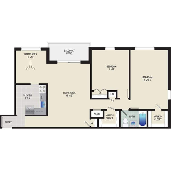 Deerfield Run & Village Square North Apartments - Floorplan - 2 Bedrooms + 1 Bath