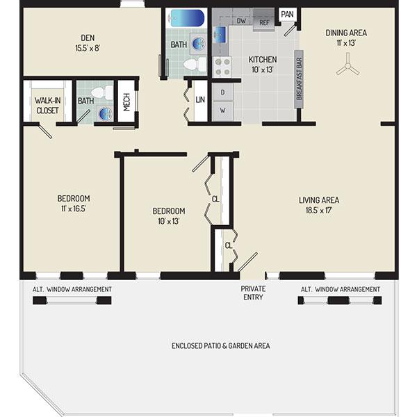 Deerfield Run & Village Square North Apartments - Floorplan - 2 Bedrooms + 1.5 Baths