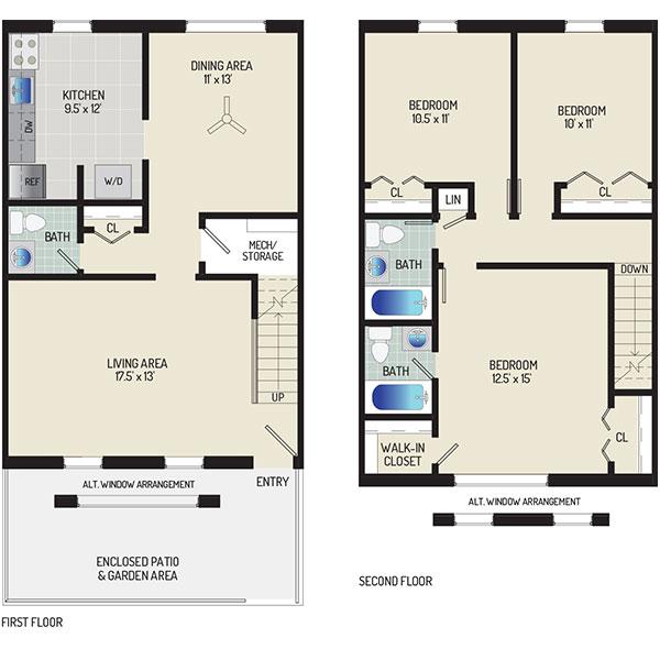 Deerfield Run & Village Square North Apartments - Floorplan - 3 BR + 2.5 BA Townhome