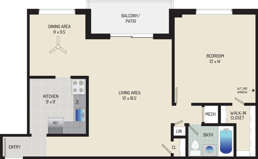 Deerfield Run & Village Square North Apartments - Apartment 203240-303-D2