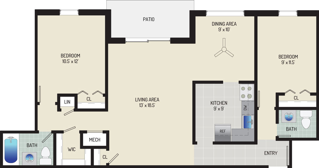 Deerfield Run & Village Square North Apartments - Apartment 203300-102-J