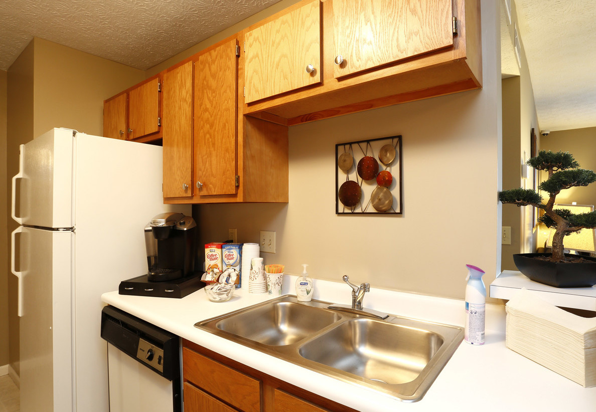 Double Stainless Steel Sink at at Deer Ridge Apartments in Loveland, Ohio