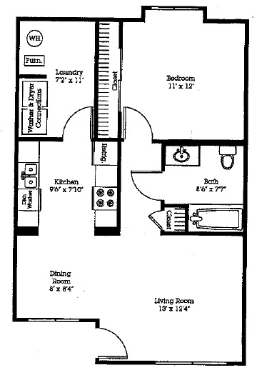 Floorplan - 1Bedroom/1Bath - Upgraded image