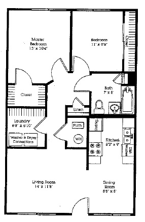 Delaware Crossing Apartments & Townhomes - Floorplan - 2Bedroom/1Bath