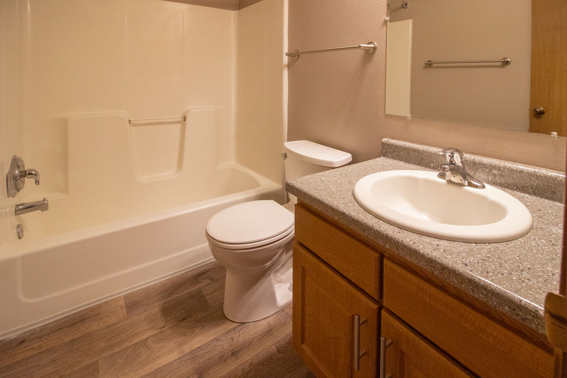 Shower and Tub Combination Bathrooms at Delaware Crossing Apartments in Ankeny, Iowa