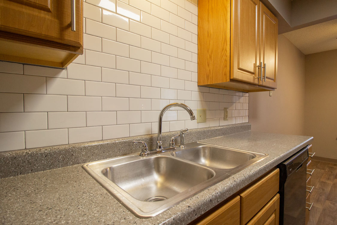 New Tile Backsplash at Delaware Crossing Apartments in Ankeny, Iowa
