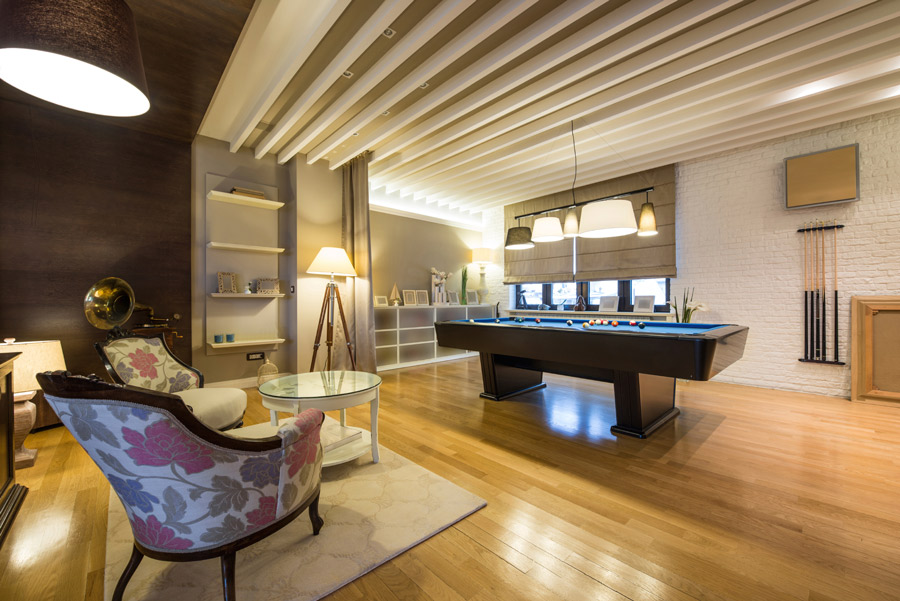 Clubroom with Billiards Table at The Midrise Apartments in New Orleans, LA