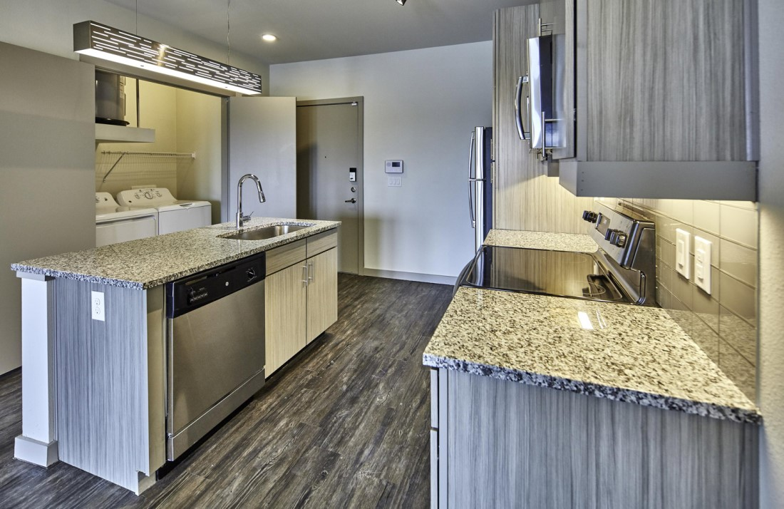 Fully Equipped Kitchen With Stainless Steel Appliances At Digit 1919 Apartments In Dallas, TX