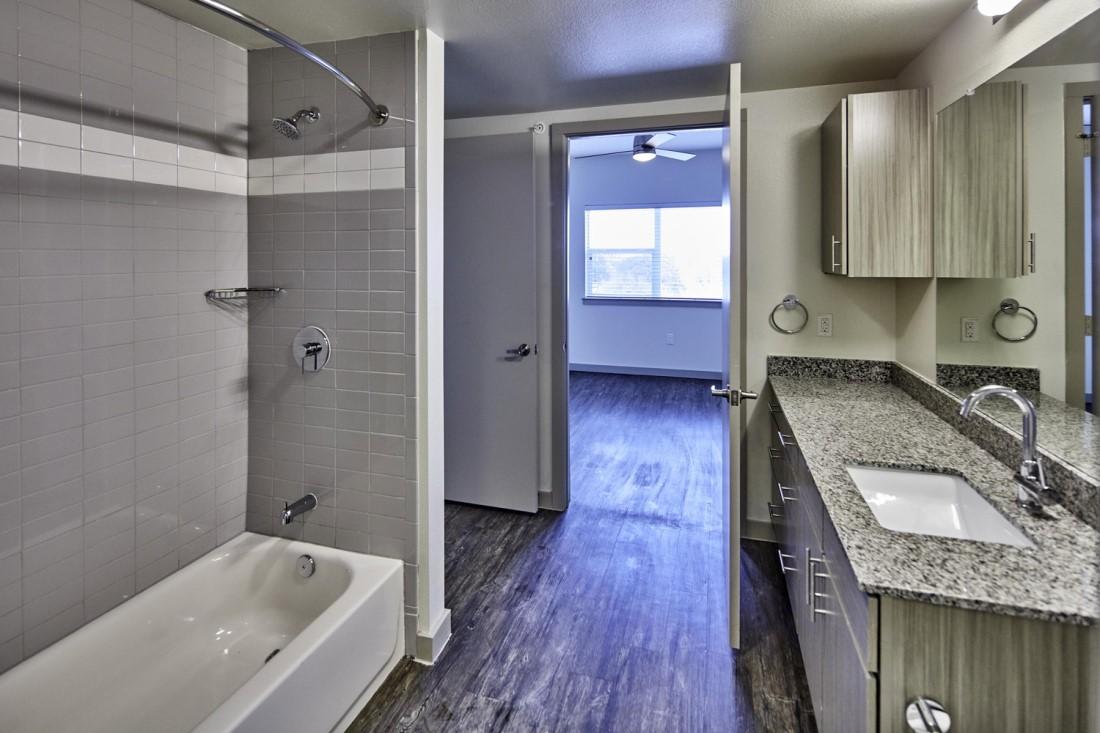 Single Vanity Bathroom At Digit 1919 Apartments In Dallas, TX