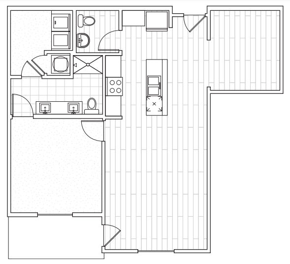 The District Flats - Floorplan - B1a with Den