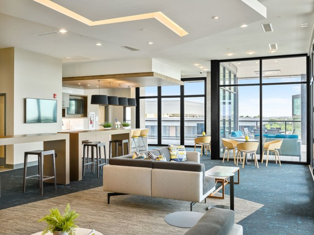Contemporary Clubhouse at The District Flats Apartments in Lenexa, KS