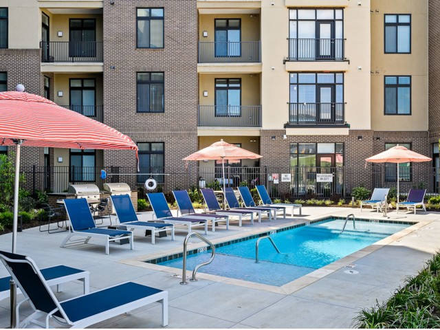 Sparkling Pool at The District Flats Apartments in Lenexa, KS