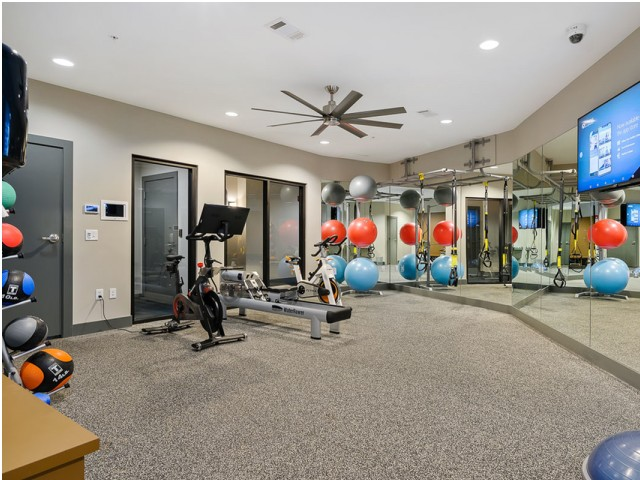 Fitness Center at The District Flats Apartments in Lenexa, KS