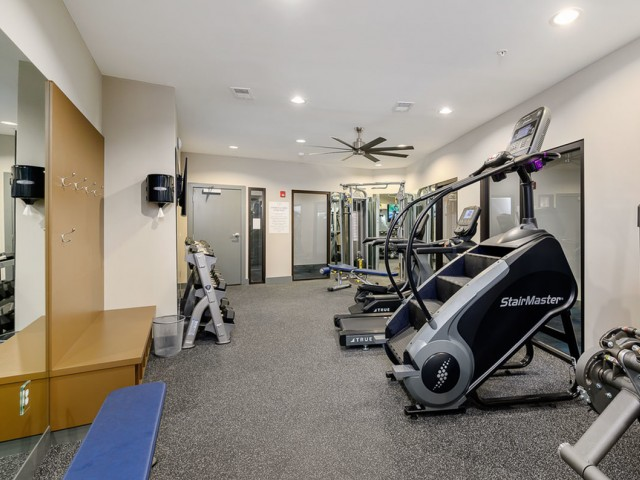 Professional Gym Equipment at The District Flats Apartments in Lenexa, KS