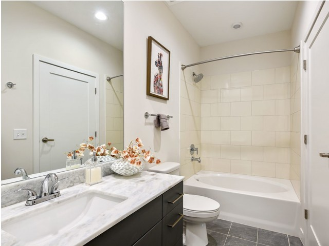 Modern Bathroom at The District Flats Apartments in Lenexa, KS