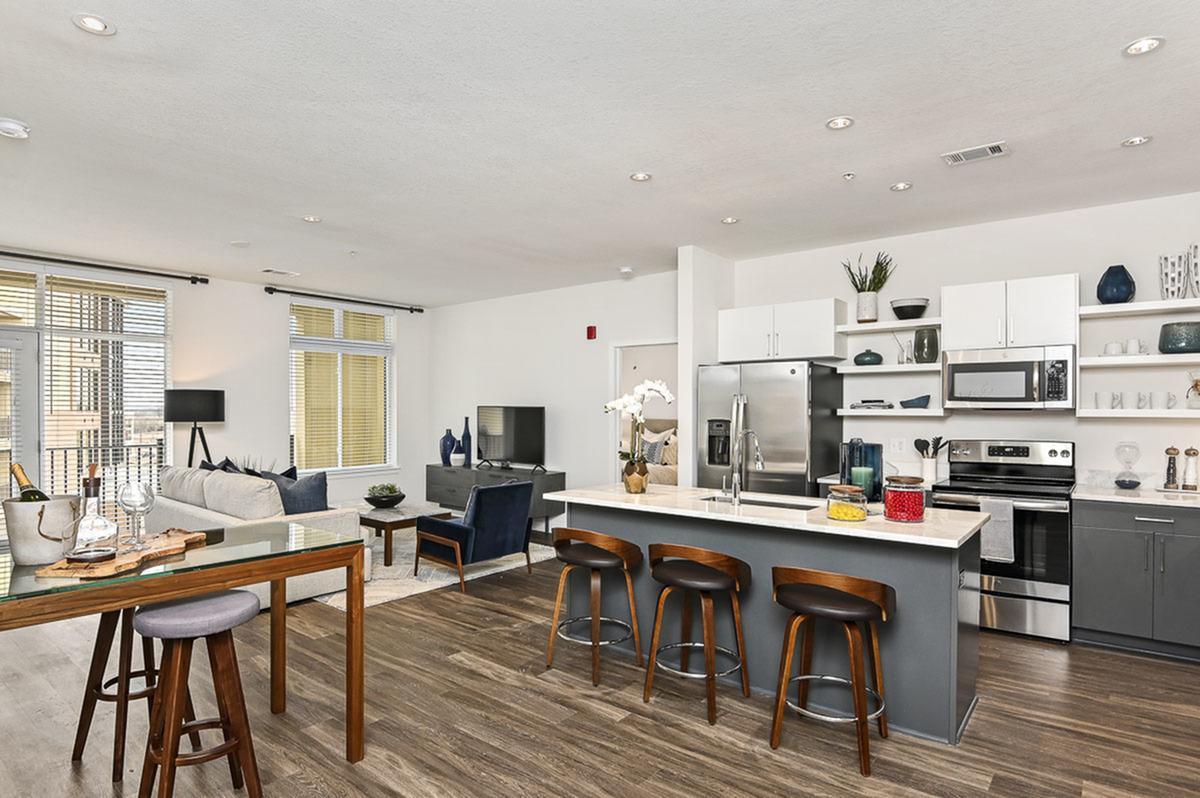 Island Kitchen at The District Flats Apartments in Lenexa, KS