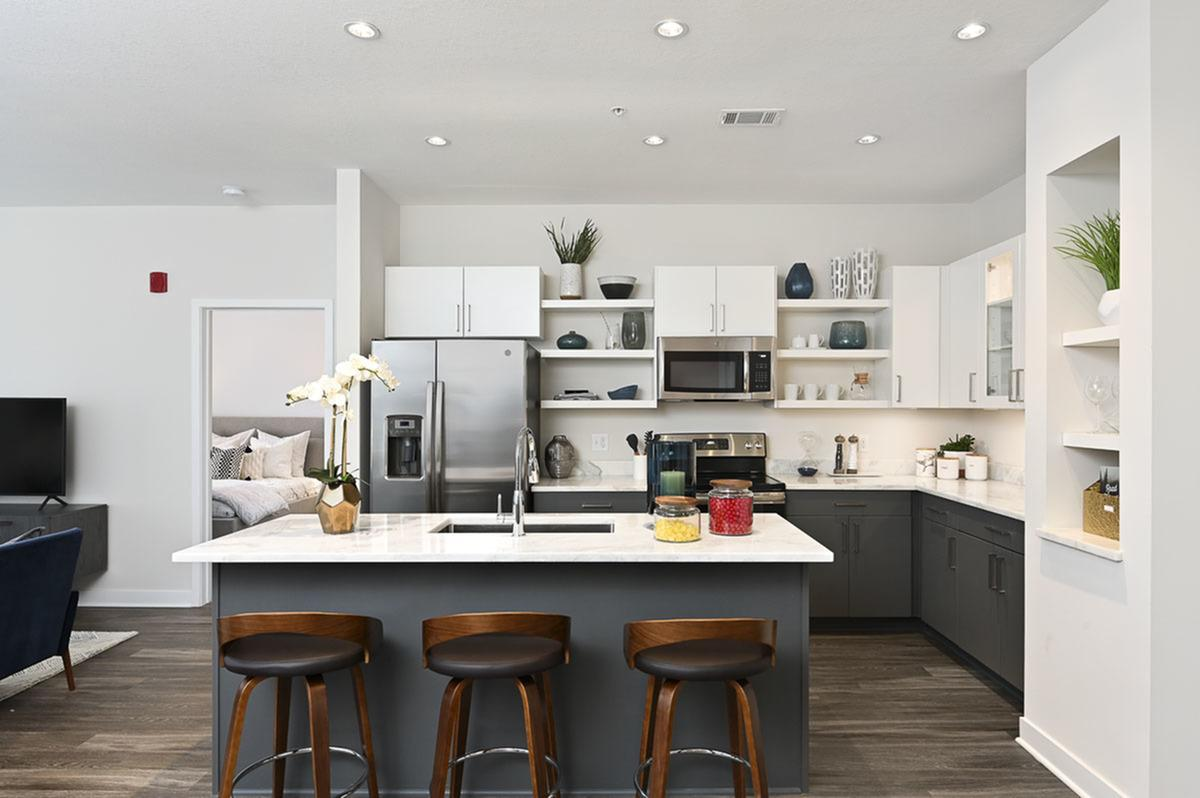 Stainless Steel Appliances at The District Flats Apartments in Lenexa, KS