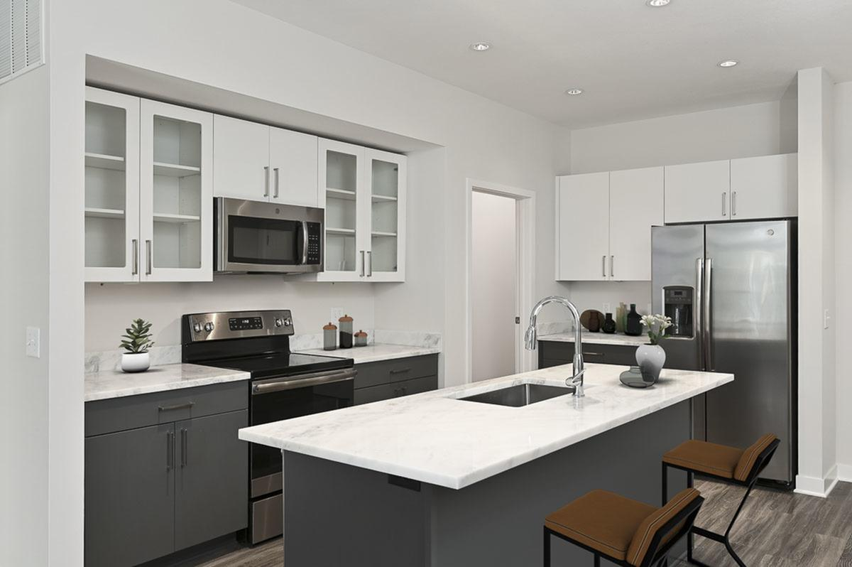 Built-in Microwave at The District Flats Apartments in Lenexa, KS