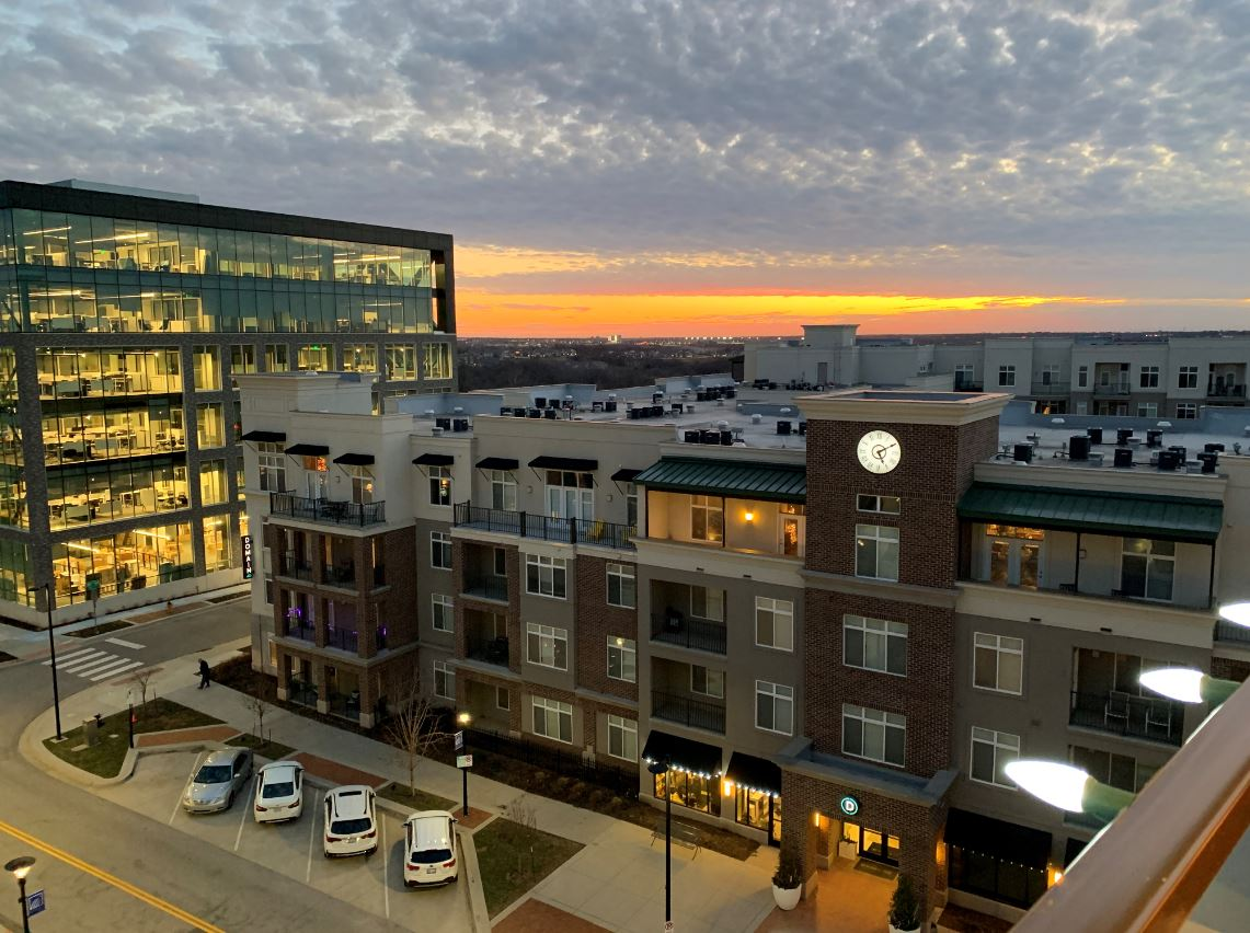 Stunning views from the tower lounge at The District Flats Apartments in Lenexa, KS
