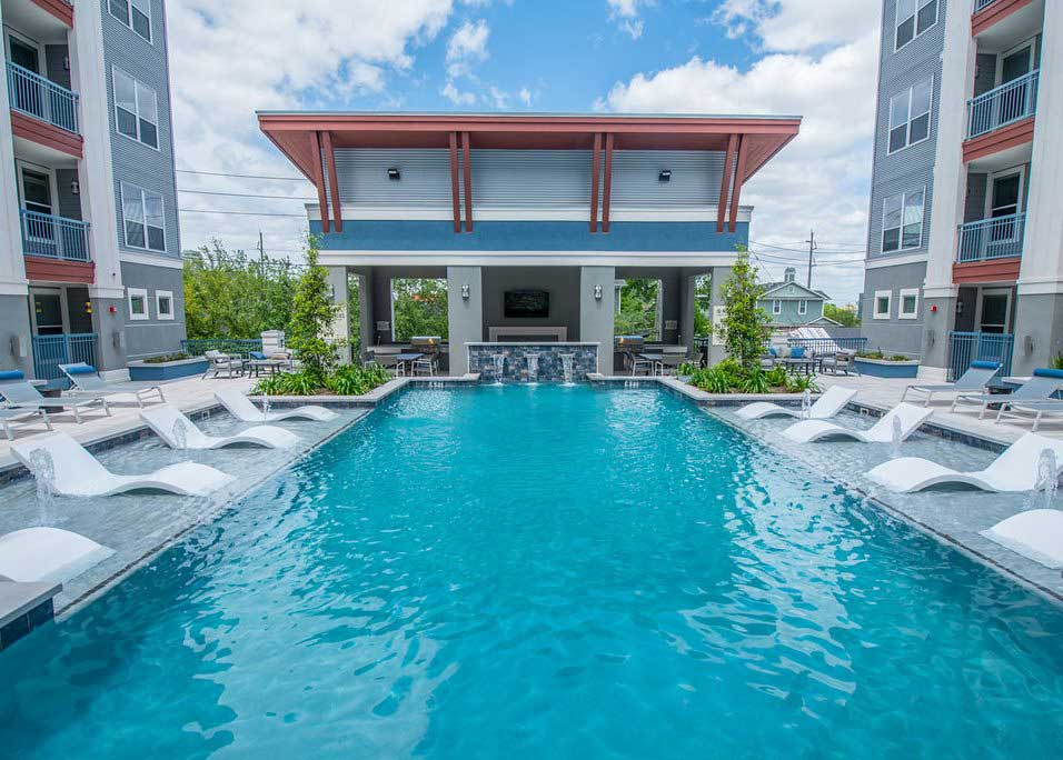 Resort-Style Swimming Pool at Dolce Midtown Apartments in Houston, Texas