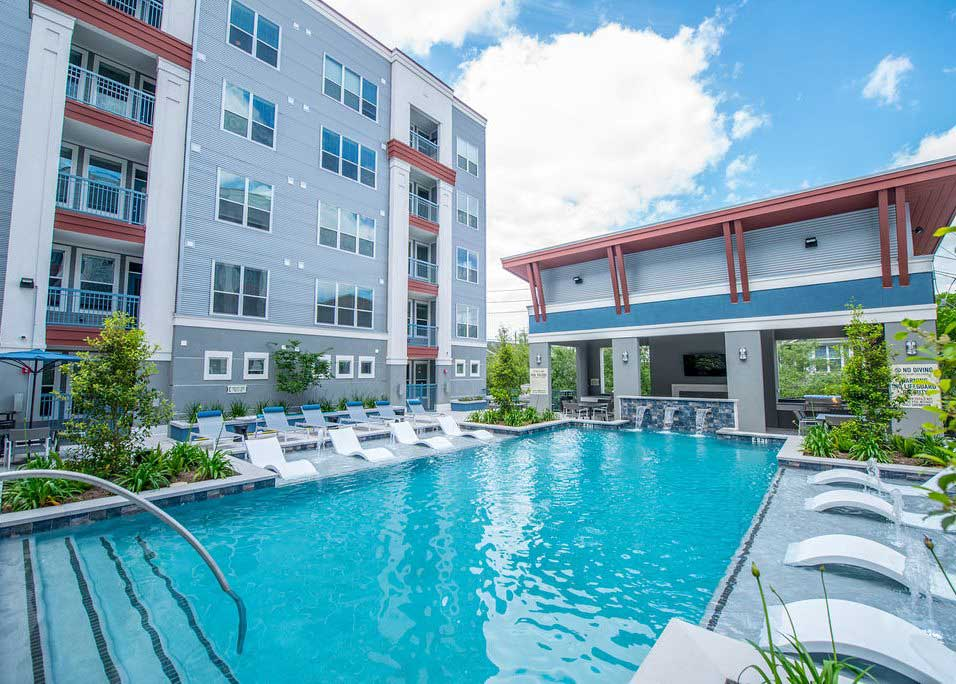 Pool with Cabanas at Dolce Midtown Apartments in Houston, Texas