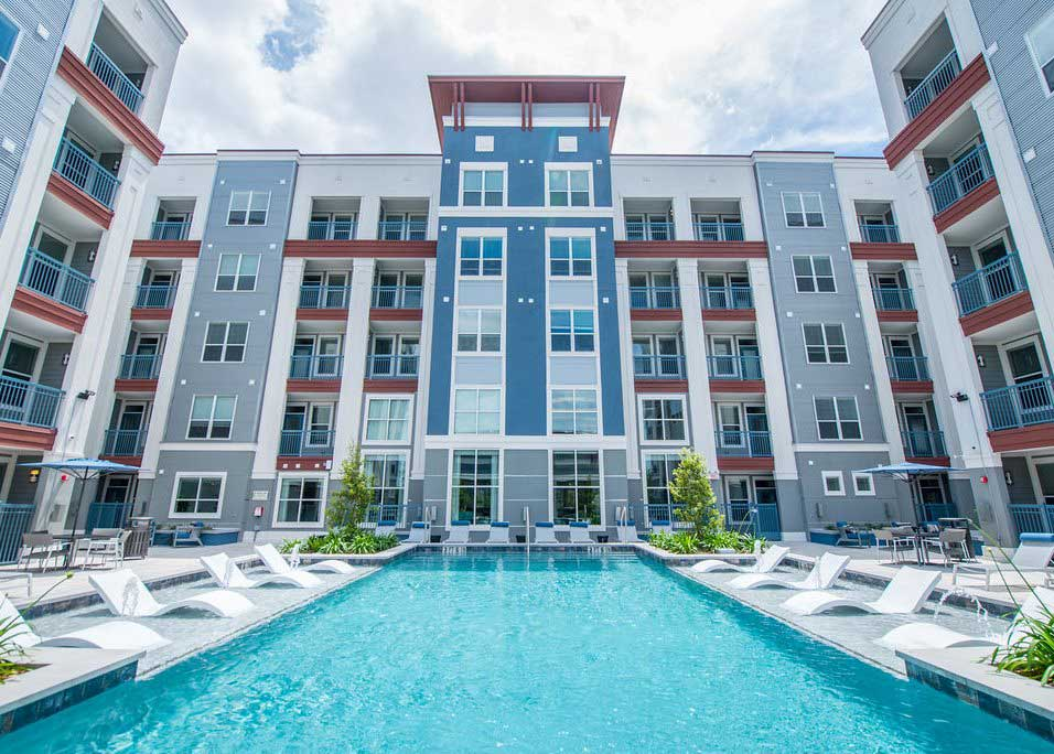 Sparkling Swimming Pool at Dolce Midtown Apartments in Houston, Texas