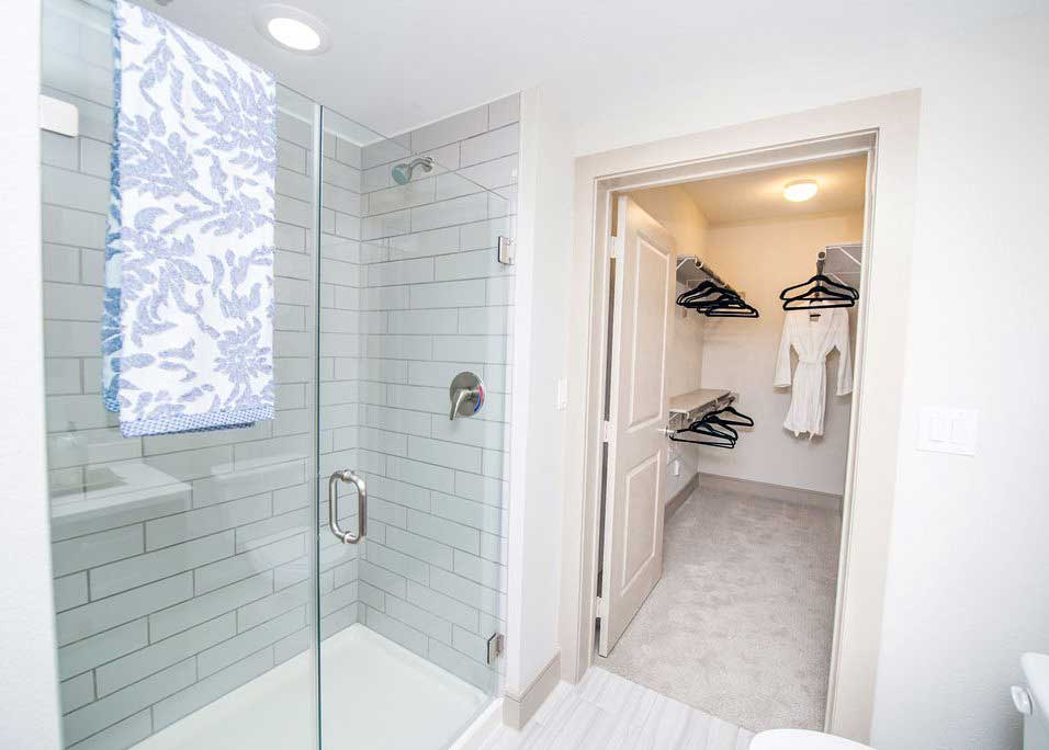 Shower and Closet at Dolce Midtown Apartments in Houston, Texas