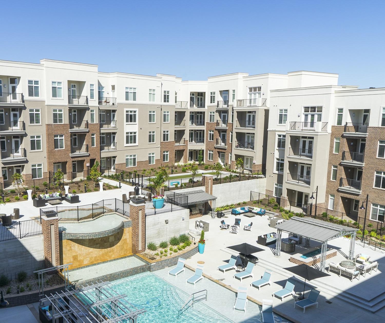 Resort-Style Pool Area at Domain City Center Luxury Apartments in Lenexa, Kansas