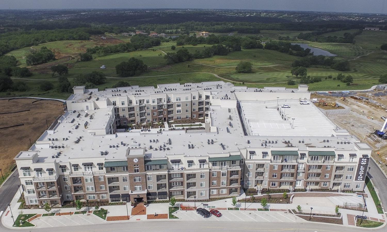 Aerial View of Apartments at Domain City Center Luxury Apartments in Lenexa, Kansas