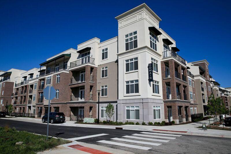 Newly Constructed Apartment Exterior at Domain City Center Luxury Apartments in Lenexa, Kansas