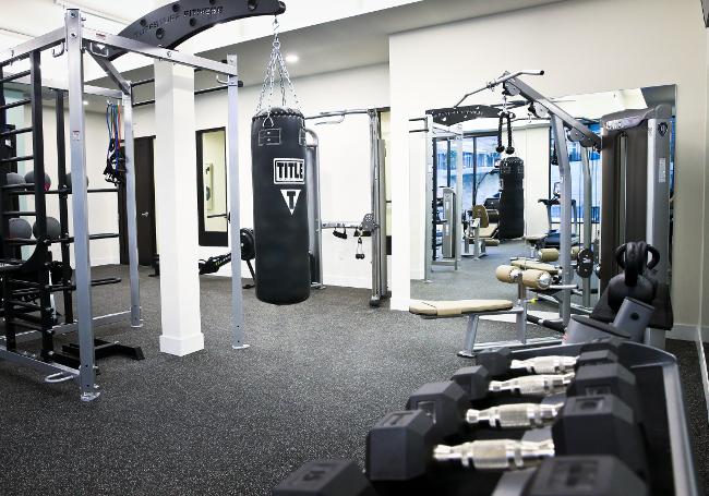 Free Weights at Domain City Center Luxury Apartments in Lenexa, Kansas