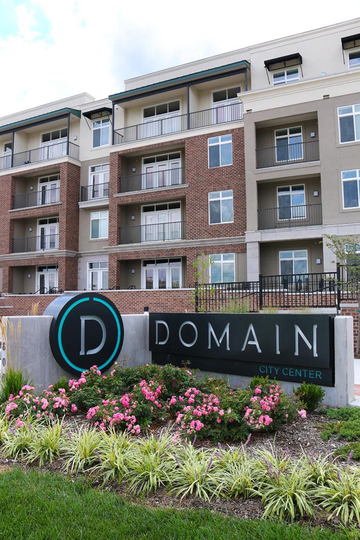 Property Sign at Domain City Center Luxury Apartments in Lenexa, Kansas