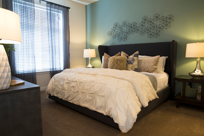 Interior of Bedroom at Domain City Center Luxury Apartments in Lenexa, Kansas