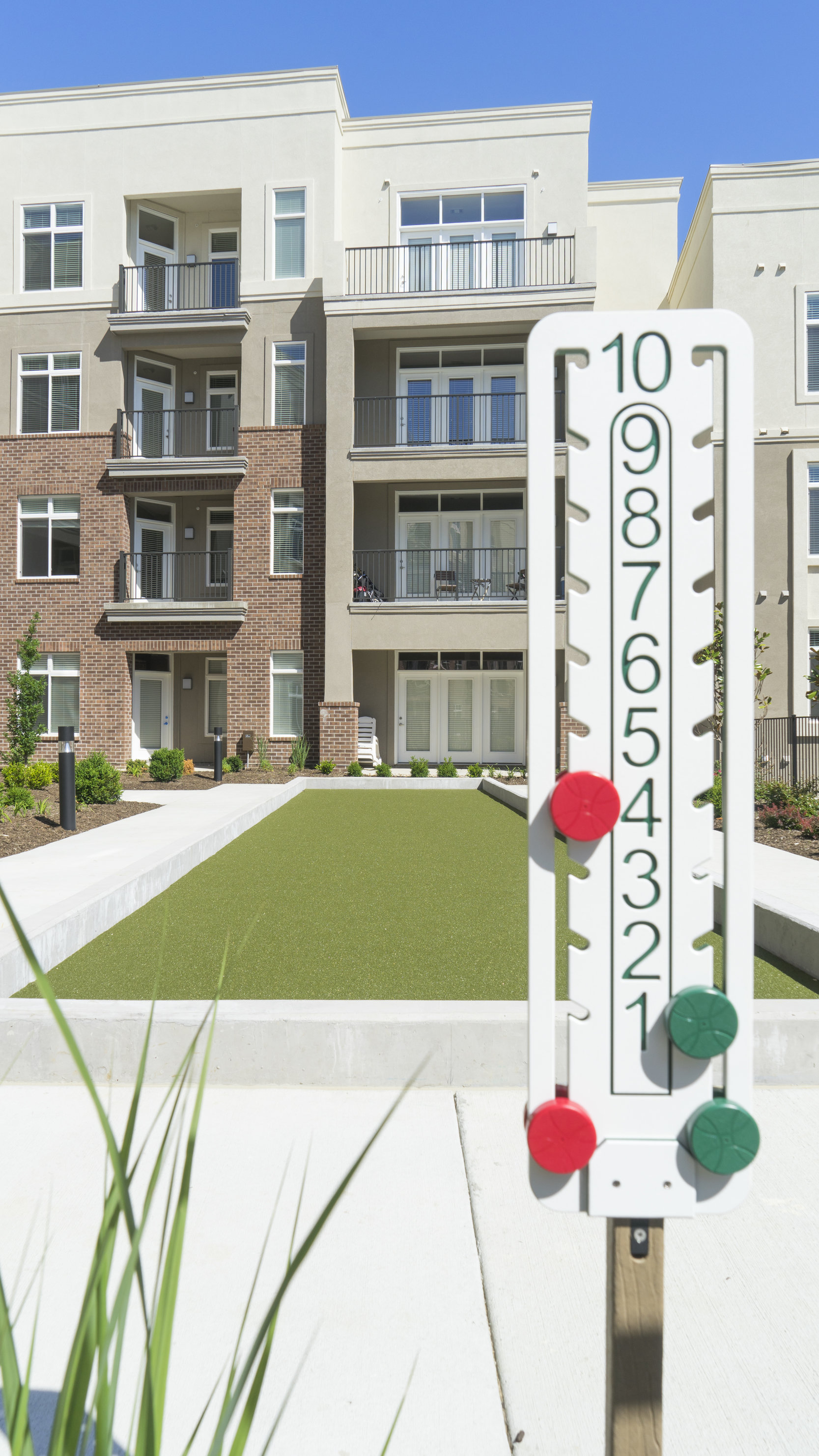 Bocce Ball in the Courtyard at Domain City Center Luxury Apartments in Lenexa, Kansas