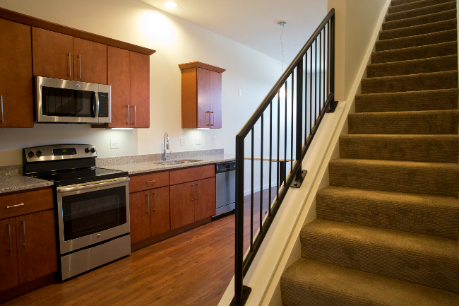 Convenient Staircase at Domain City Center Luxury Apartments in Lenexa, Kansas