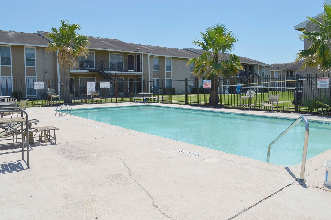 Sparkling Swimming Pool at Dyersdale Village Apartments in Houston, Texas