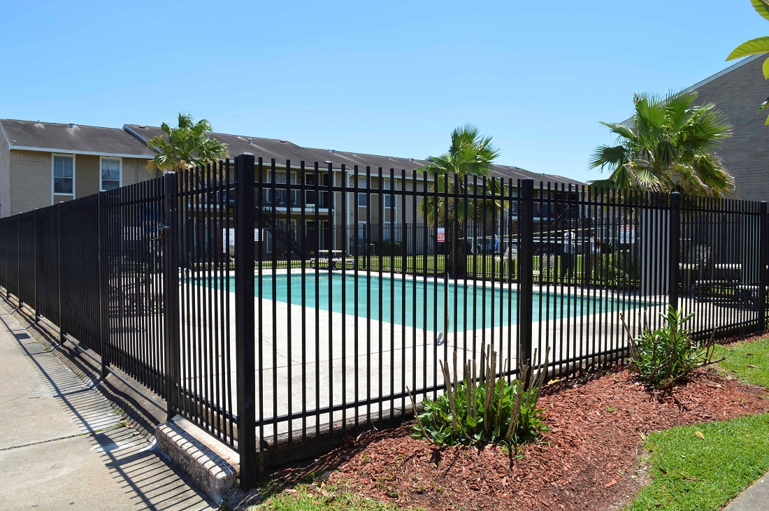 Gated Pool Area at Dyersdale Village Apartments in Houston, Texas