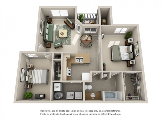 Edgewood Apartments - Floorplan - B2x1