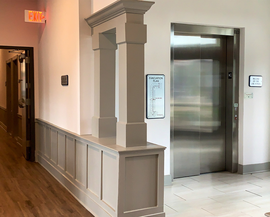 Elevator at Elan at Terra Bella Apartments in Covington, Louisiana