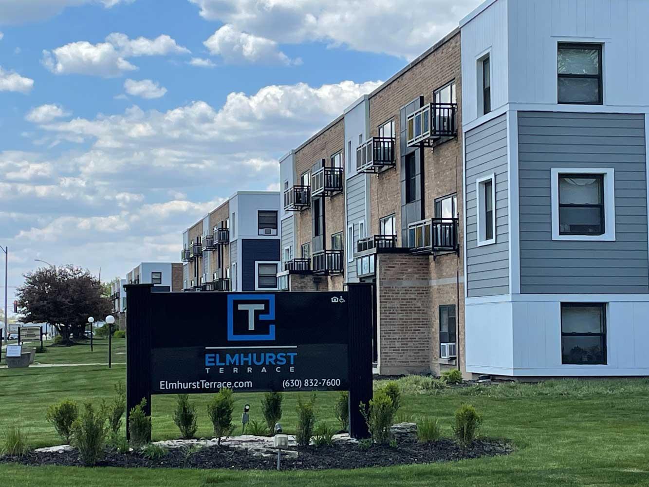 Welcome Sign at Elmhurst Terrace Apartments in Elmhurst, Illinois