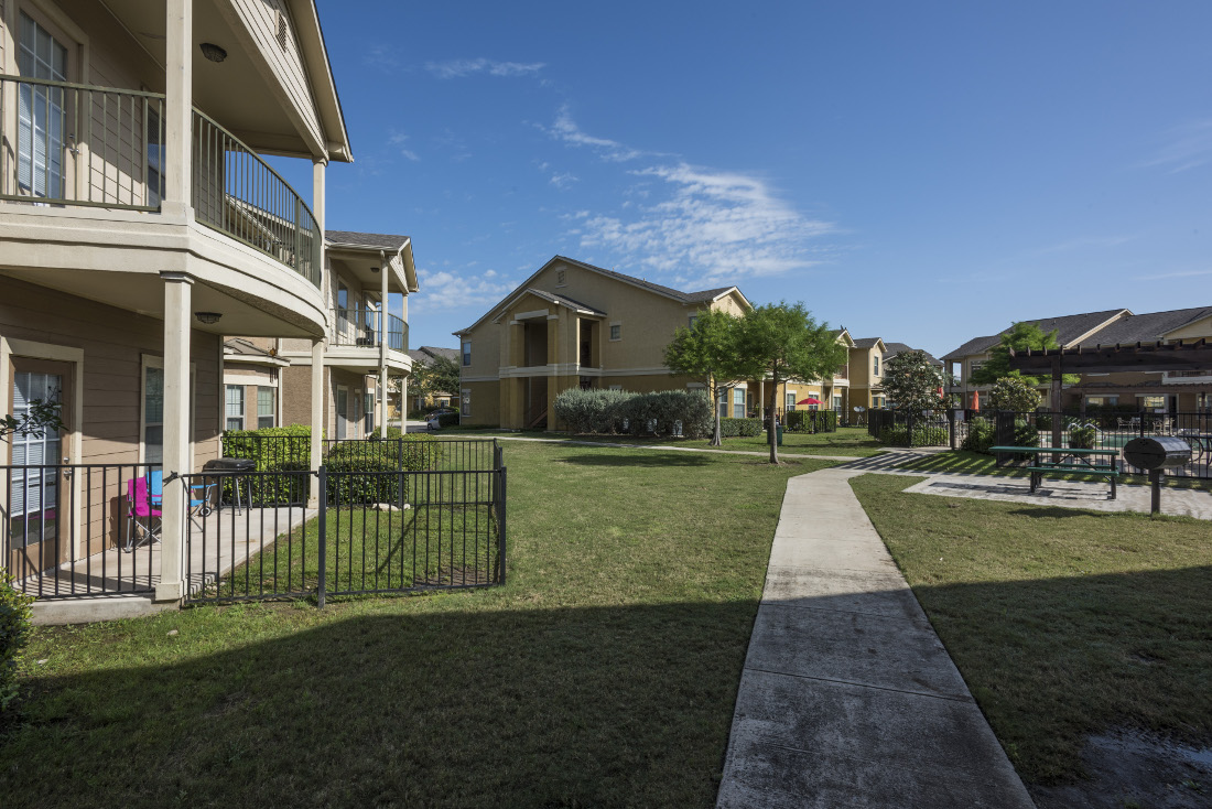 Patios and Walking Trails at the Oxford at Estonia Apartments in San Antonio, TX