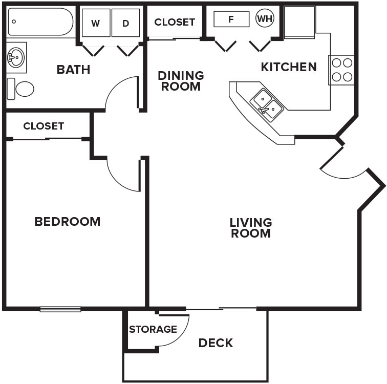 Fairfax Apartments - Floorplan - 1B