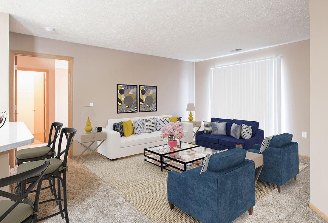 Open Living space at Fairfax Apartments in Omaha, Nebraska